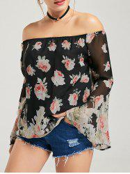 Flare Sleeve Off The Shoulder Floral Blouse
