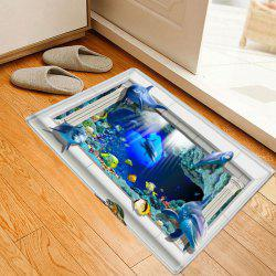 Sea Dolphin 3D Pattern Anti-skid Water Absorption Area Rug