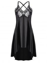 Asymmetric Crossback Lace Panel Satin Slip Babydoll Dress -