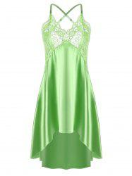 Asymmetric Crossback Lace Panel Satin Slip - GRASS GREEN