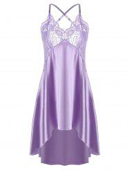 Asymmetric Crossback Lace Panel Satin Slip - LIGHT PURPLE