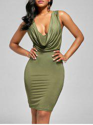 Plunge Draped  Bodycon Dress