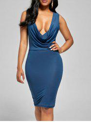 Plunge Draped  Bodycon Cocktail Dress