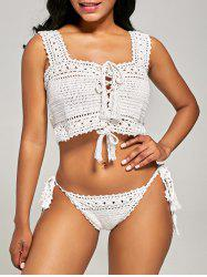 Lace-Up Crochet Bralette Bikini Set