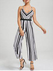 Backless Wide Leg Striped Jumpsuit