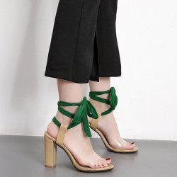 Chunky Heel Lace Up Sandals -