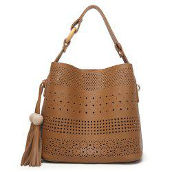 Tassel Cut Out Tote Bag - BROWN