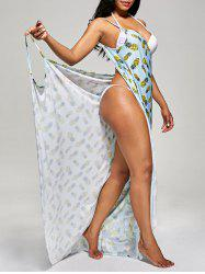 Pineapple Cover Up Wrap Dress - LIGHT BLUE M