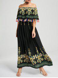 Tassel Off The Shoulder Maxi Boho Dress
