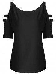 Straps Cold Shoulder Plus Size Knit T-shirt