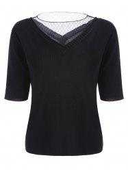 Voile Panel Stripe Knit Plus Size  Tee - BLACK 3XL