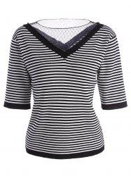 Voile Panel Stripe Knit Plus Size  Tee