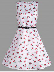 Cherry Print Belted Pin Up Dress
