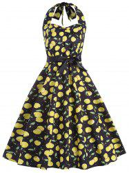 Cherry Print Vintage Halter Pin Up Dress