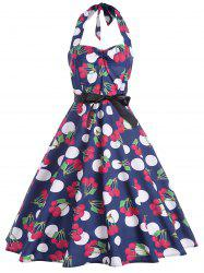 Vintage Halter Cherry Print Pin Up Dress
