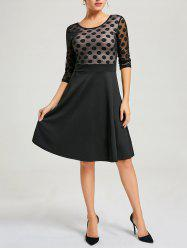 Mesh Insert Polka Dot A Line Dress