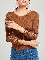 Long Sleeve Ribbed Lace Up Knit Sweater - KHAKI