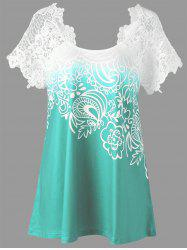Lace Panel Raglan Sleeve Floral Plus Size Top - Moss - 5xl