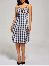 Hollow Out Empire Waist Tartan Cami Dress