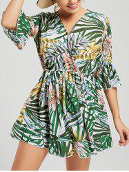 Tropical Print V Neck Surplice Romper