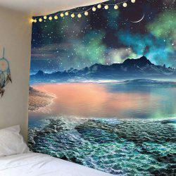 Moon Star Lake Mountain Wall Hanging Tapestry - COLORFUL
