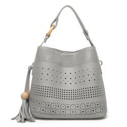 Tassel Cut Out Tote Bag - GRAY