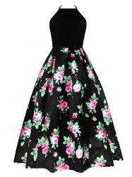 Vintage Floral Print Long Cutout Halter Dress -