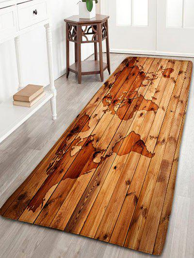 Antiskid Flannel Vintage Map Wood Grain RugHOME<br><br>Size: W24 INCH * L71 INCH; Color: BROWN; Products Type: Bath rugs; Materials: Flannel; Pattern: Print; Style: Vintage; Shape: Rectangle; Package Contents: 1 x Rug;