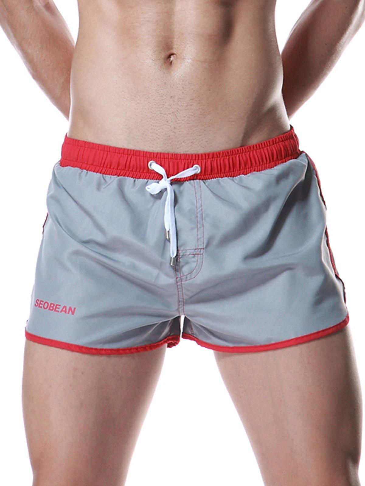 New Color Block Panel Drawstring Graphic Sport Shorts