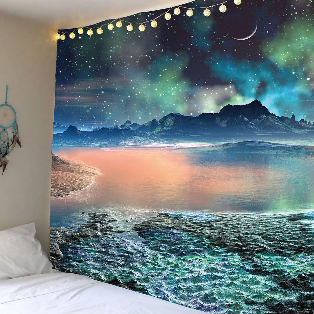 Moon Star Lake Mountain Wall Hanging TapestryHOME<br><br>Size: W79 INCH * L59 INCH; Color: COLORFUL; Style: Romantic; Theme: Landscape; Material: Polyester; Feature: Removable,Washable; Shape/Pattern: Print; Weight: 0.5000kg; Package Contents: 1 x Tapestry;
