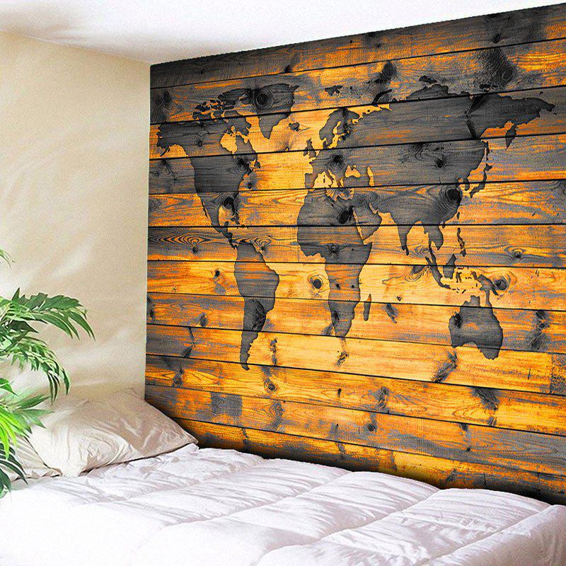 World Map Print Wall Hanging Wood Grain TapestryHOME<br><br>Size: W91 INCH * L71 INCH; Color: WOOD COLOR; Style: Vintage; Material: Cotton,Polyester; Feature: Removable,Washable; Shape/Pattern: Print; Weight: 0.3950kg; Package Contents: 1 x Tapestry;