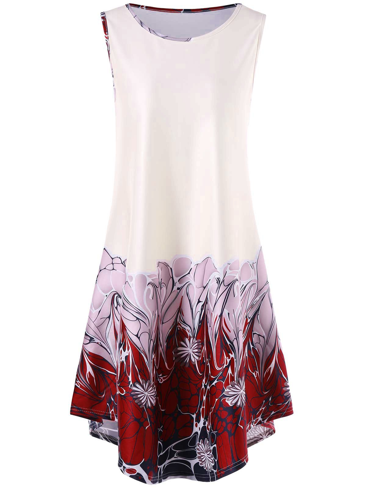 Sleeveless Asymmetrical Floral Print DressWOMEN<br><br>Size: L; Color: WHITE; Style: Casual; Material: Polyester,Spandex; Silhouette: A-Line; Dresses Length: Knee-Length; Neckline: Round Collar; Sleeve Length: Sleeveless; Pattern Type: Floral; With Belt: No; Season: Fall,Spring,Summer; Weight: 0.3500kg; Package Contents: 1 x Dress; Occasion: Casual;