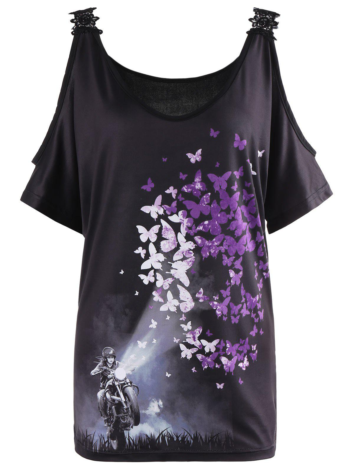 Butterfly Print Lace Insert Cold Shoulder BlouseWOMEN<br><br>Size: XL; Color: BLACK; Occasion: Casual; Style: Casual; Material: Polyester,Spandex; Shirt Length: Regular; Sleeve Length: Short; Collar: U Neck; Pattern Type: Butterfly,Print; Embellishment: Lace; Season: Summer; Elasticity: Elastic; Weight: 0.2200kg; Package Contents: 1 x Blouse;