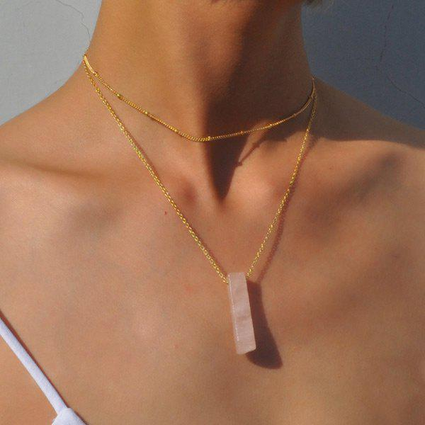 Geometric Natural Stone Collarbone Layered NecklaceJEWELRY<br><br>Color: PINK; Item Type: Pendant Necklace; Gender: For Women; Style: Trendy; Shape/Pattern: Geometric; Length: 37CM; Weight: 0.0400kg; Package Contents: 1 x Necklace;