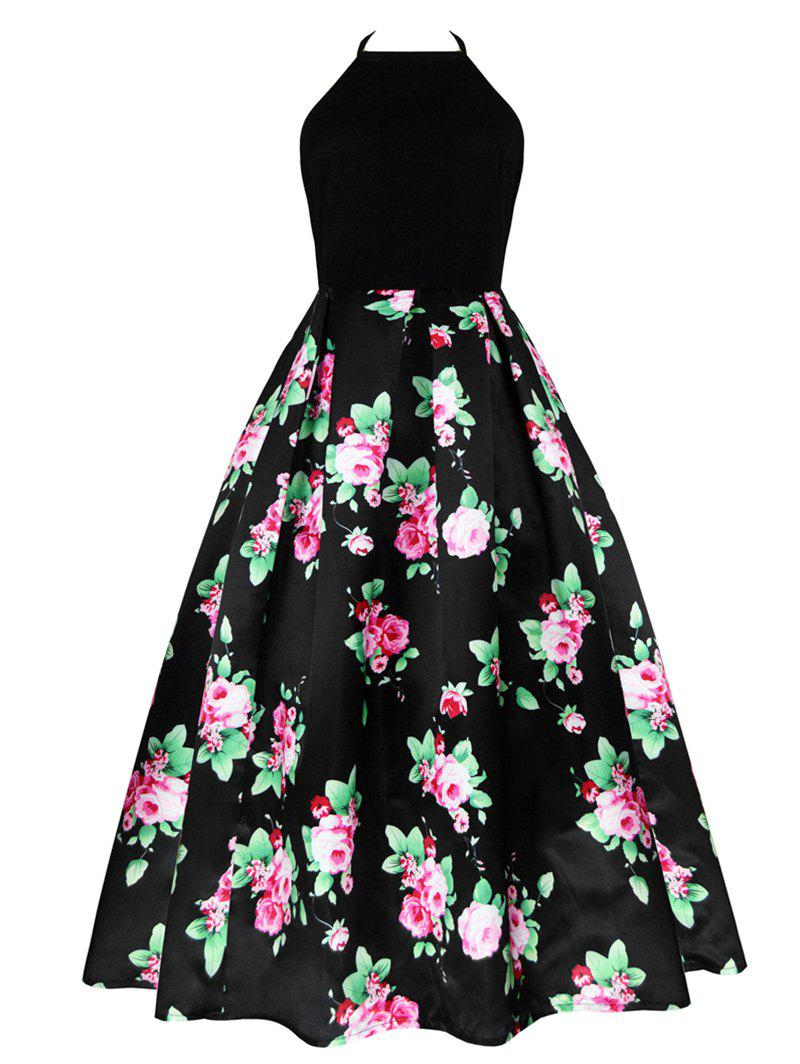 Hot Vintage Floral Print Long Cutout Halter Dress