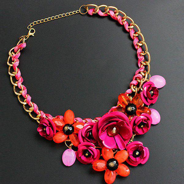 Statement Chunky Flower NecklaceJEWELRY<br><br>Color: ROSE RED; Gender: For Women; Necklace Type: Link Chain; Style: Noble and Elegant; Shape/Pattern: Floral; Length: 48CM; Weight: 0.1600kg; Package Contents: 1 x Necklace;