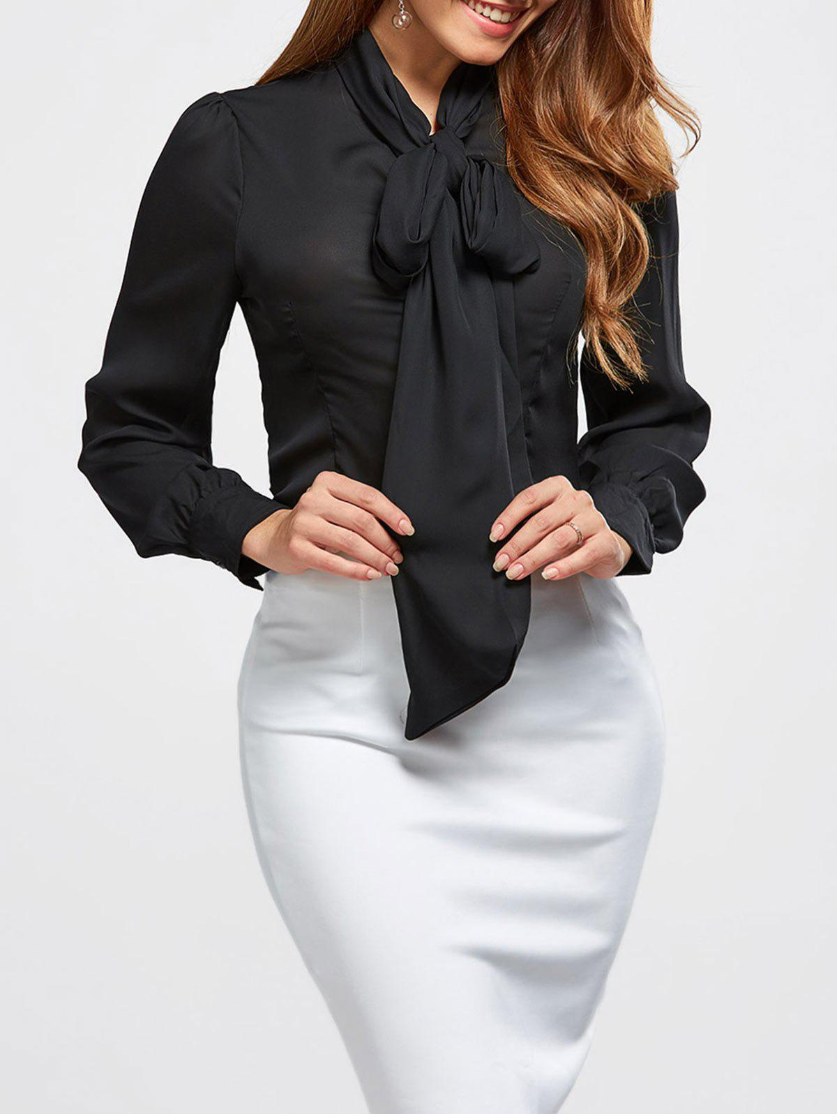 Pussy Bow Tie Neck BlouseWOMEN<br><br>Size: XL; Color: BLACK; Style: Fashion; Material: Polyester; Shirt Length: Regular; Sleeve Length: Full; Collar: Bow Tie Collar; Pattern Type: Others; Season: Fall,Spring,Summer; Weight: 0.2500kg; Package Contents: 1 x Blouse;