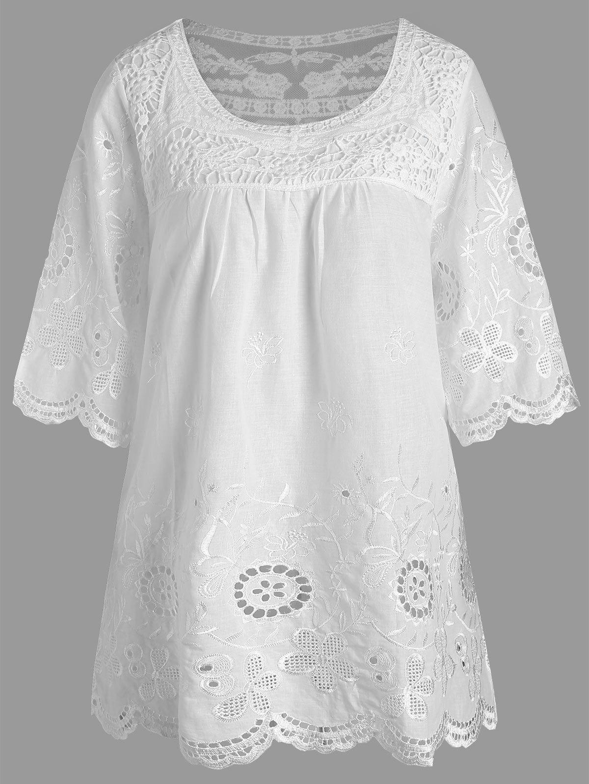 Embroidered Plus Size Tunic TopWOMEN<br><br>Size: 3XL; Color: WHITE; Material: Polyester; Shirt Length: Long; Sleeve Length: Three Quarter; Collar: Round Neck; Style: Casual; Season: Fall,Summer; Pattern Type: Solid; Weight: 0.2200kg; Package Contents: 1 x Top;