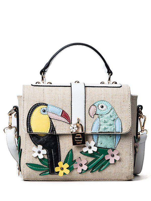 Latest Parrot and Flower Patches Weave Crossbody Bag