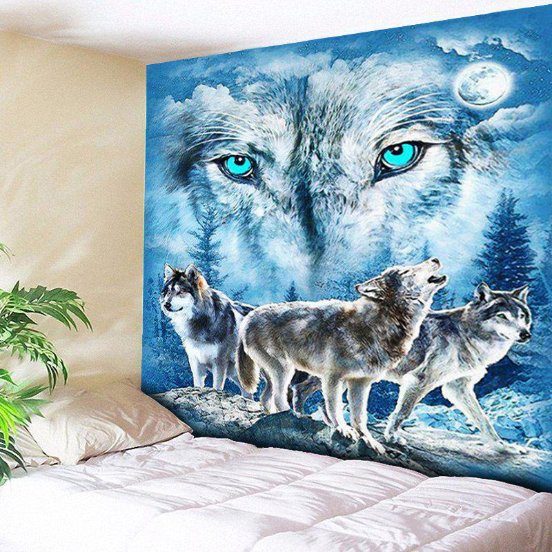 Blue W59 Inch L79 Inch Wall Hanging Snowy Night Wolves