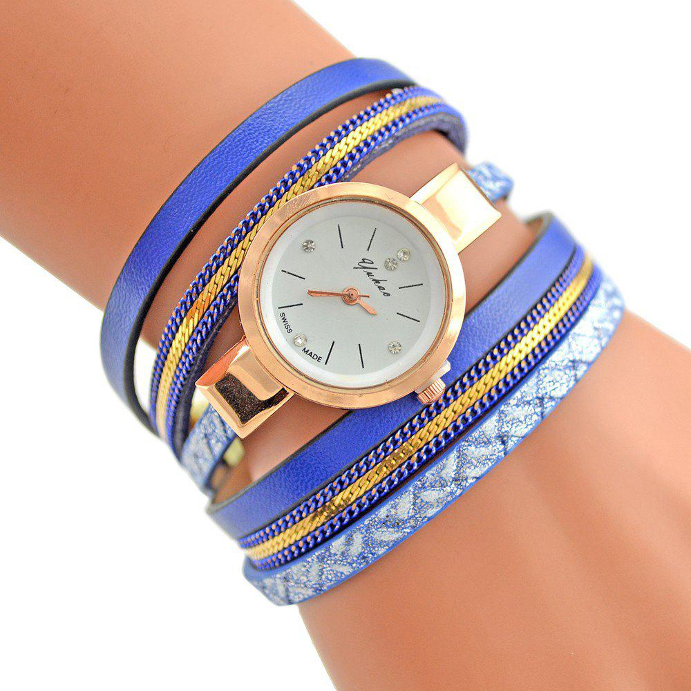 Cheap Faux Leather Strap Analog Bracelet Watch