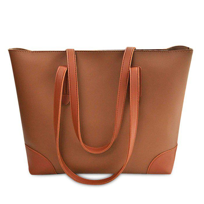 Buy Faux Leather Shopper Bag with Clutch Bag