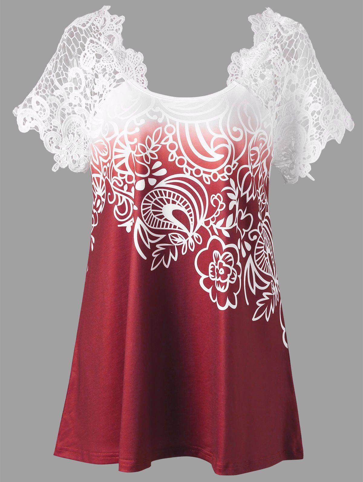 Lace Panel Raglan Sleeve Floral Plus Size TopWOMEN<br><br>Size: 2XL; Color: RED; Material: Polyester,Spandex; Shirt Length: Regular; Sleeve Length: Short; Collar: Round Neck; Style: Fashion; Season: Fall,Spring,Summer; Embellishment: Lace; Pattern Type: Floral; Weight: 0.2300kg; Package Contents: 1 x Top;