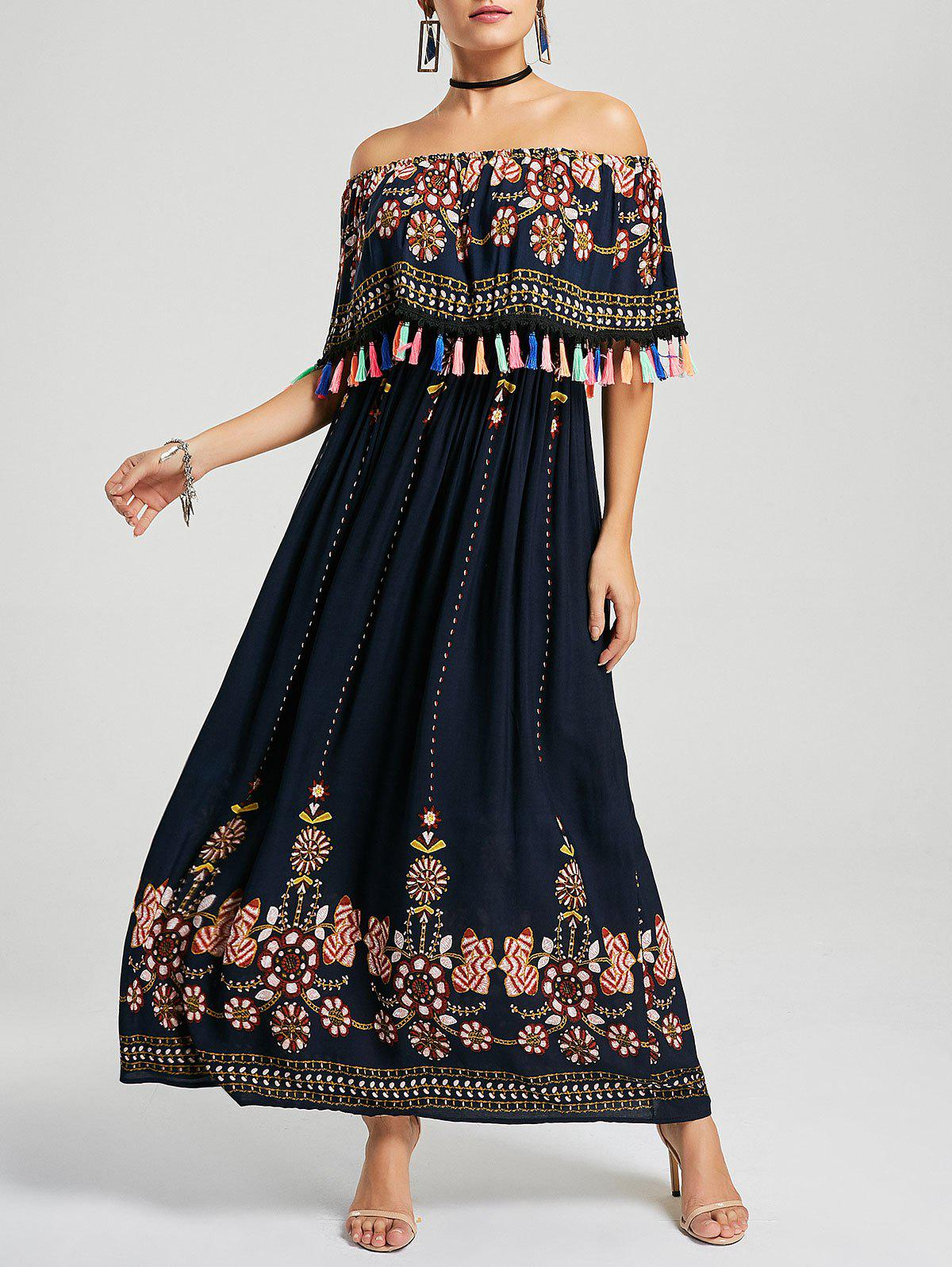 Off Shoulder Floral Summer Maxi Tassel DressWOMEN<br><br>Size: XL; Color: PURPLISH BLUE; Style: Bohemian; Material: Polyester; Silhouette: A-Line; Dresses Length: Ankle-Length; Neckline: Off The Shoulder; Sleeve Length: Half Sleeves; Pattern Type: Floral; With Belt: No; Season: Summer; Weight: 0.4200kg; Package Contents: 1 x Dress;