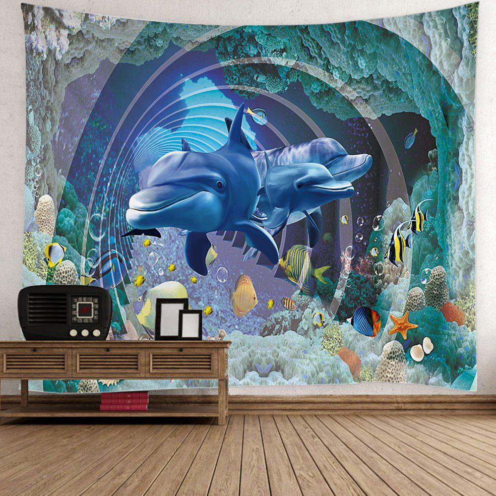 Ocean 3D Dolphin Fish Print Wall TapestryHOME<br><br>Size: W59 INCH * L51 INCH; Color: COLORFUL; Style: Romantic; Theme: Animals; Material: Polyester; Feature: Removable,Washable; Shape/Pattern: Animal; Weight: 0.5000kg; Package Contents: 1 x Tapestry;