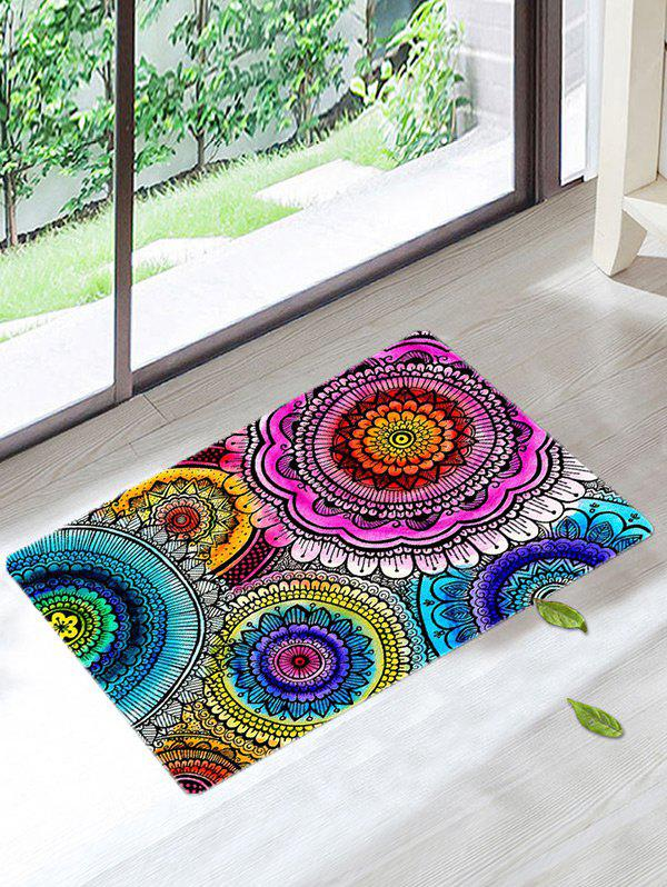 Mandala Coral Velvet Antiskid Door Entrance RugHOME<br><br>Size: W16 INCH * L24 INCH; Color: COLORMIX; Products Type: Bath rugs; Materials: Coral FLeece; Pattern: Floral; Style: Bohemian; Shape: Rectangle; Package Contents: 1 x Bath Rug;
