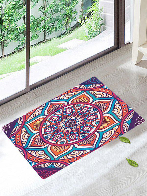 Water Absorbent Mandala Antislip Bath RugHOME<br><br>Size: W16 INCH * L24 INCH; Color: COLORMIX; Products Type: Bath rugs; Materials: Coral FLeece; Pattern: Floral; Style: Bohemian; Shape: Rectangle; Package Contents: 1 x Rug;