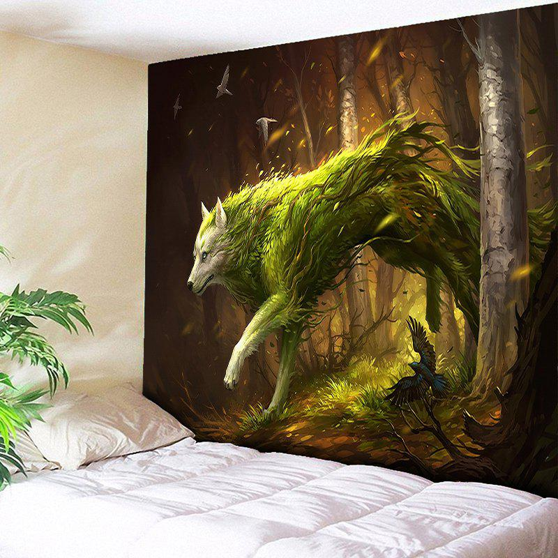 Animal Wall Hanging Forest Wolf TapestryHOME<br><br>Size: W79 INCH * L59 INCH; Color: BROWN; Style: Fresh Style; Material: Cotton,Polyester; Feature: Removable,Washable; Shape/Pattern: Animal,Plant,Print; Weight: 0.3000kg; Package Contents: 1 x Tapestry;