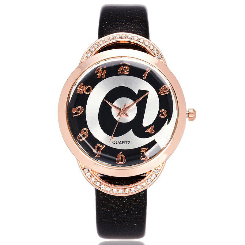 Symbol Face Faux Leather Strap Number WatchJEWELRY<br><br>Color: BLACK; Gender: For Women; Style: Fashion; Type: Quartz watch; Index Dial: Analog; Case material: Alloy; Band material: PU Leather; Movement: Quartz; Dial Shape: Round; Water-Proof: No; Case Thickness(MM): 9mm; Dial Diameter: 3.8cm; Band Length(CM): 22cm; Band Width(CM): 1.2cm; Package Contents: 1 x Watch;