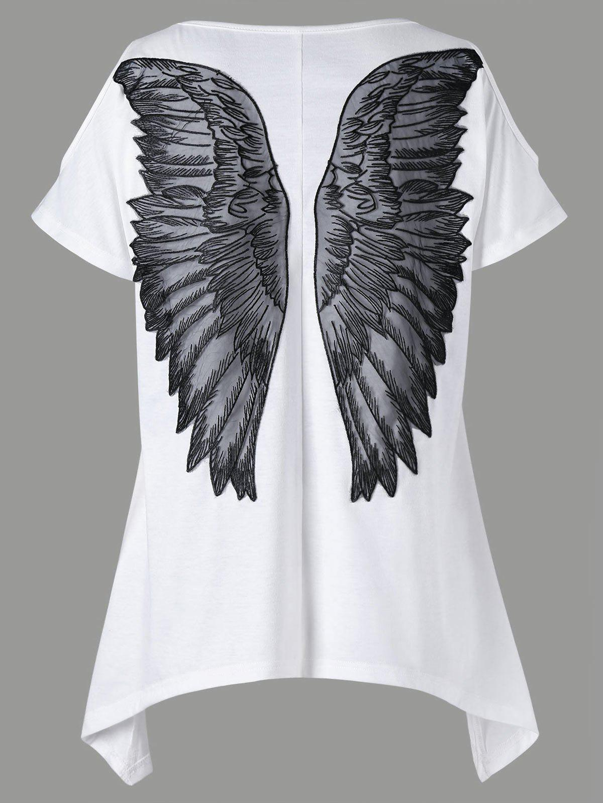 Cold Shoulder Appliqued Wings T-shirtWOMEN<br><br>Size: L; Color: WHITE; Material: Polyester,Spandex; Shirt Length: Regular; Sleeve Length: Short; Collar: Round Neck; Style: Fashion; Season: Summer; Pattern Type: Wings; Weight: 0.2400kg; Package Contents: 1 x T-shirt;